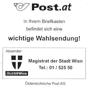 Post.at. In Ihrem Briefkasten befindet sich eine wichtige Wahlsendung …