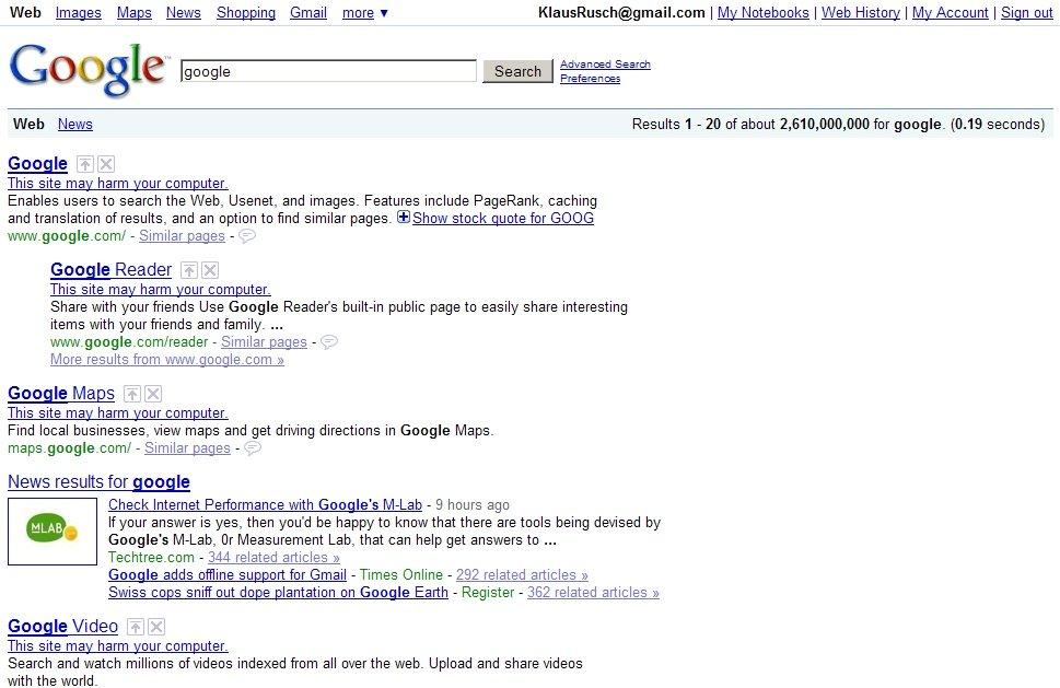 Klaus Johannes Rusch\u0027s random thoughts: Google: This site may harm